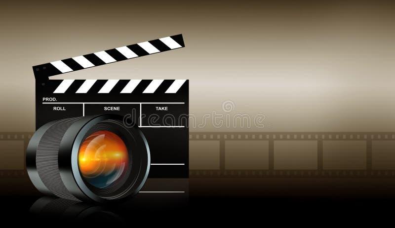Lens och applådbräde på mörk bakgrund vektor illustrationer
