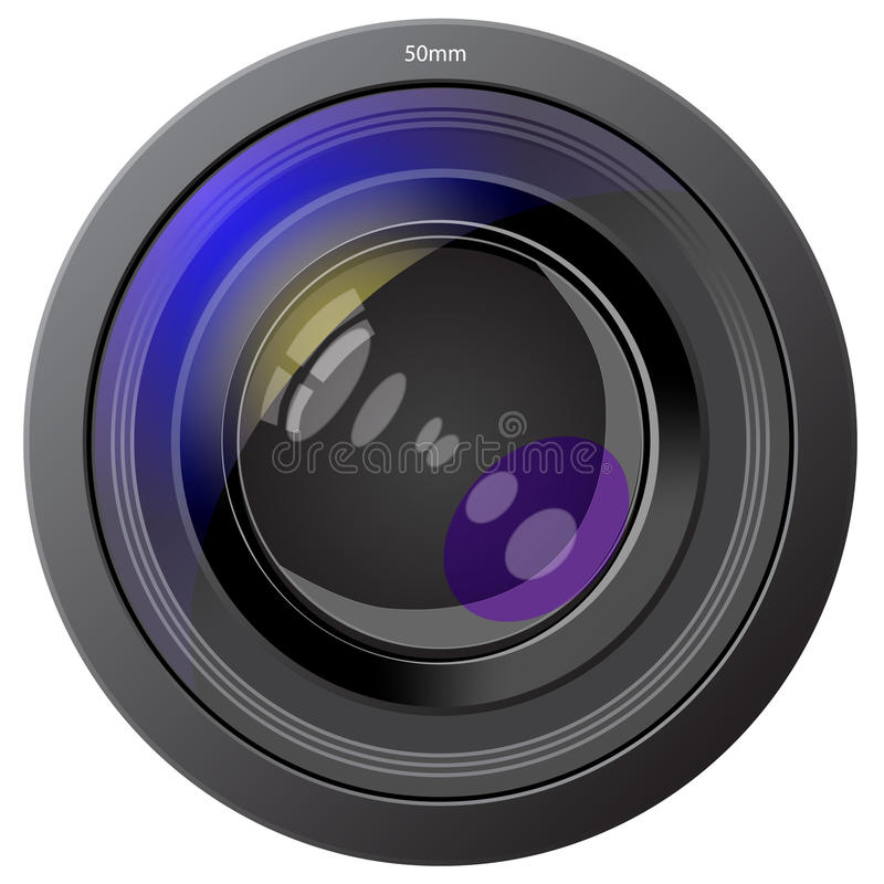 Lens Photo Of The Device Isolated On White Stock Photos