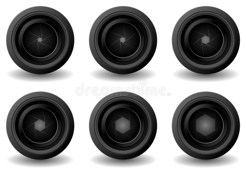 Lens and shutter apertures. Camera lens with different shutter apertures isolated over white vector illustration