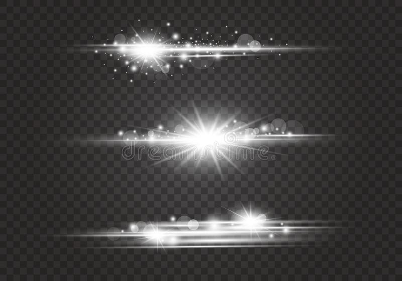 Lens signalljus och belysningeffekter på genomskinlig bakgrund vektor illustrationer