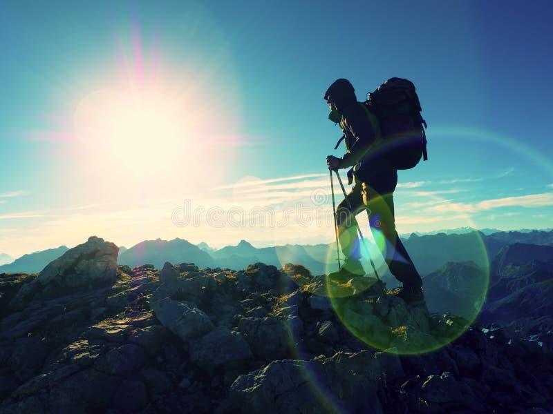 Lens signalljusdefekt Turist- handbok på den trekking banan med poler och ryggsäcken Erfaren fotvandrare royaltyfri fotografi