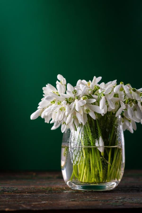 Lentbloemen in glazen vaas royalty-vrije stock foto