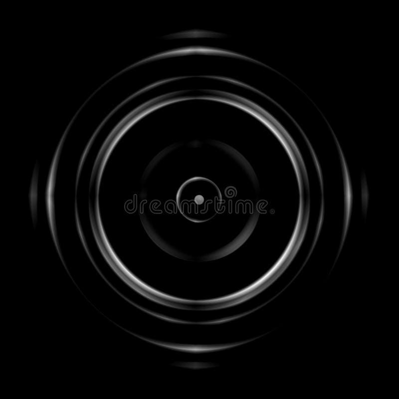 Lente circolare bianca astratta su fondo nero illustrazione vettoriale