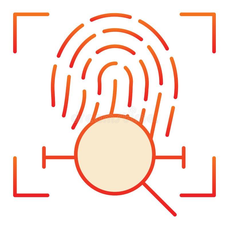 Lente con el icono plano de la huella dactilar Iconos rojos de la búsqueda de la exploración de la huella dactilar en estilo plan libre illustration