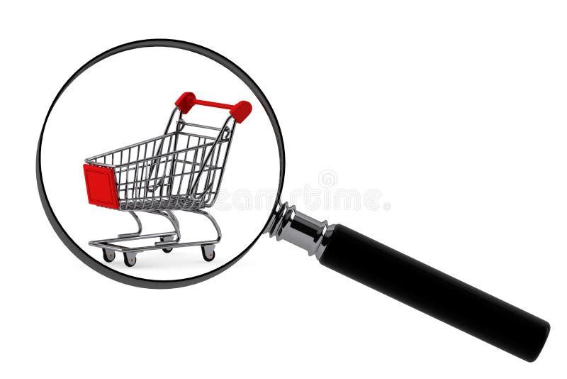 Lente d'ingrandimento & carrello di acquisto immagine stock