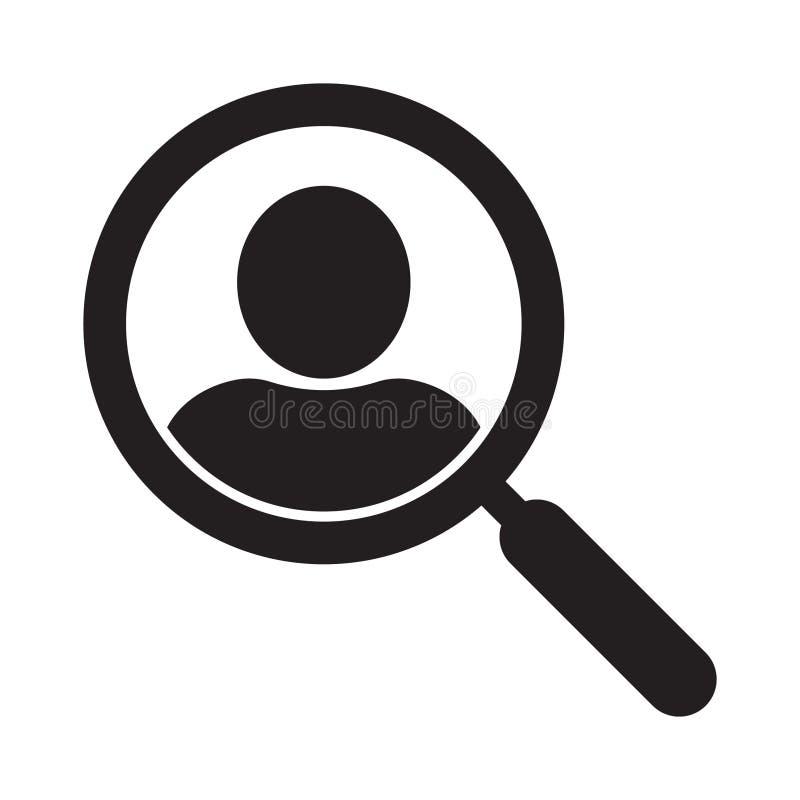 Lente d'ingrandimento che cerca l'icona della gente, concetto di simbolo di ricerca degli impiegati, cacciante teste, selezione d illustrazione vettoriale