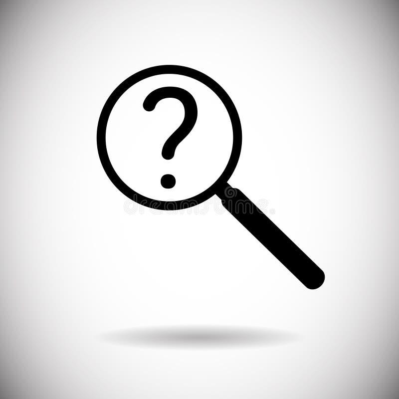 Lente d'ingrandimento con la domanda Mark Search Icon illustrazione di stock