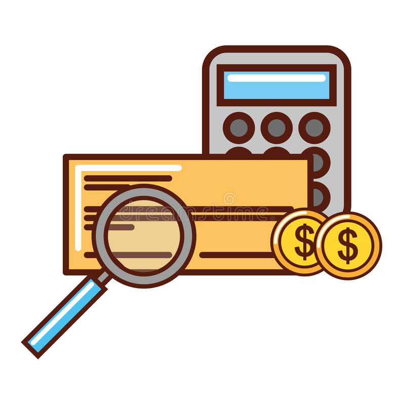 Lente d'ingrandimento del calcolatore di affari e banca del controllo delle monete illustrazione vettoriale