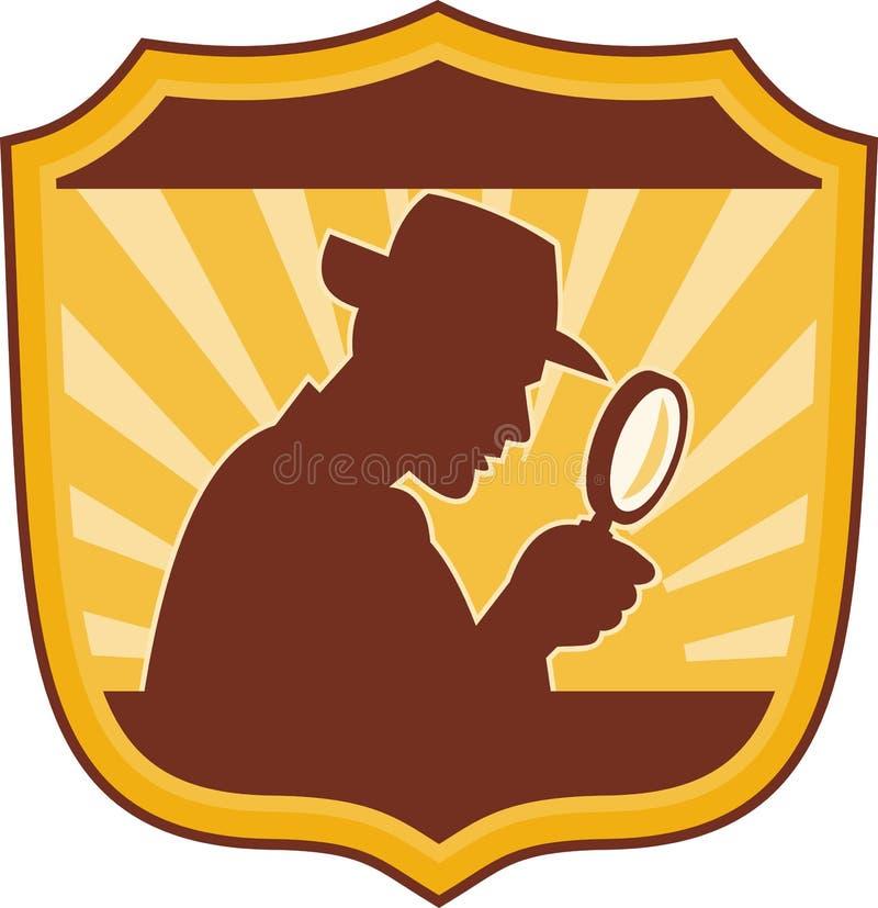 Lente d'ingrandimento dell'agente investigativo illustrazione di stock