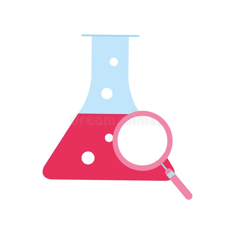 Lente d'ingrandimento della boccetta del becher del laboratorio di chimica royalty illustrazione gratis