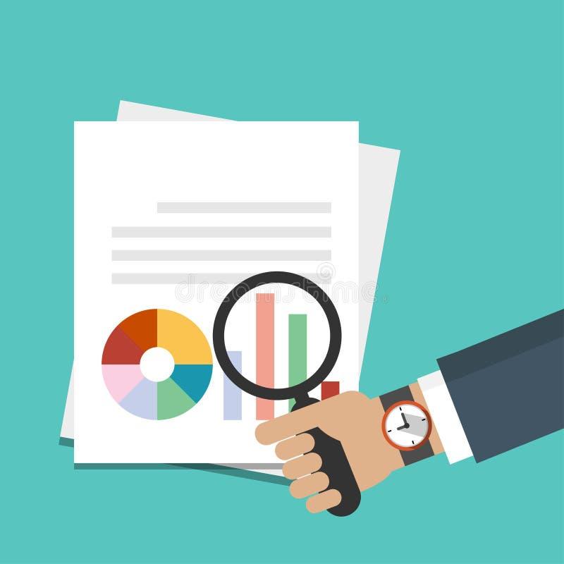 Lente d'ingrandimento della tenuta della mano dell'uomo d'affari sopra il documento con il grafico, icona di rapporti Illustrazio illustrazione di stock