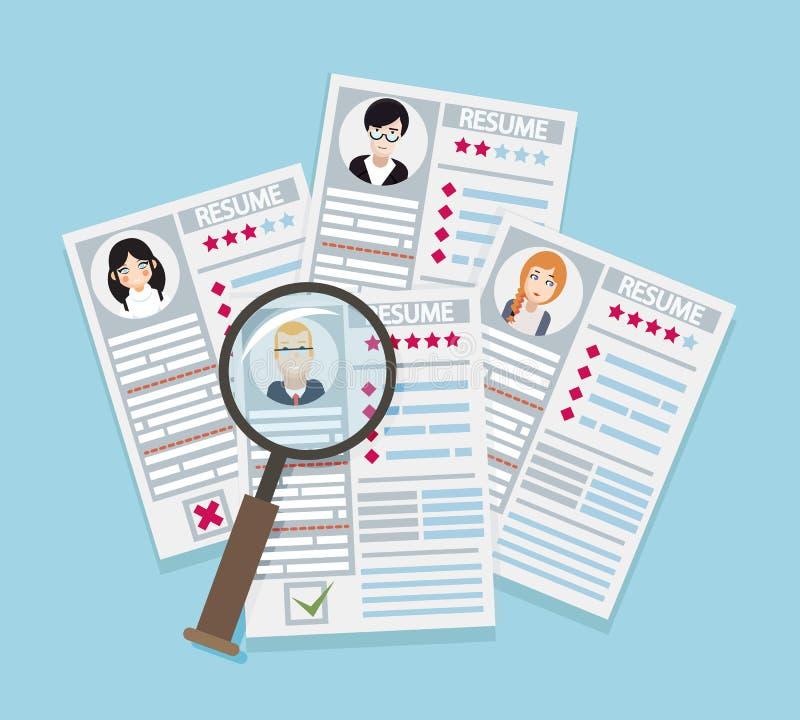 Lente d'ingrandimento di reclutamento dell'uomo d'affari di scelta di lavoro del riassunto della pagina della carta del candidato illustrazione vettoriale