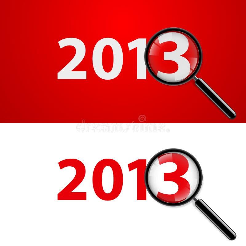 Lente d'ingrandimento e nuovo anno illustrazione vettoriale