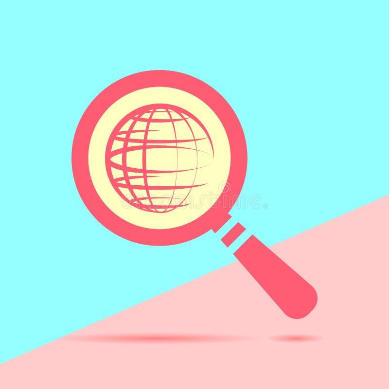 lente d'ingrandimento rossa moderna piana con il pianeta del globo con ombra o illustrazione vettoriale