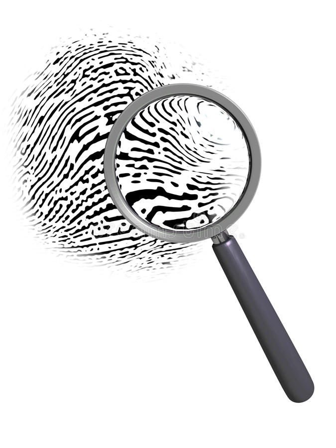 Lente d'ingrandimento sopra l'impronta digitale illustrazione vettoriale