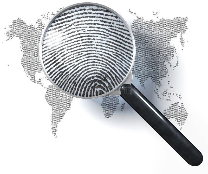 Lente d'ingrandimento sopra la mappa di mondo 1-0-grid, mostrare naturale fotografia stock libera da diritti
