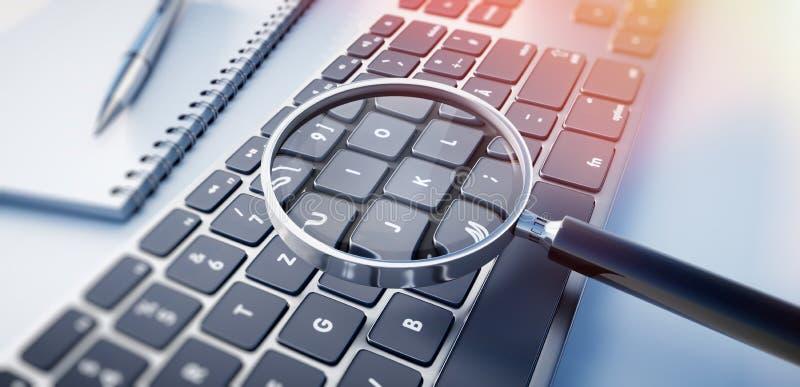Lente d'ingrandimento su una tastiera di computer royalty illustrazione gratis