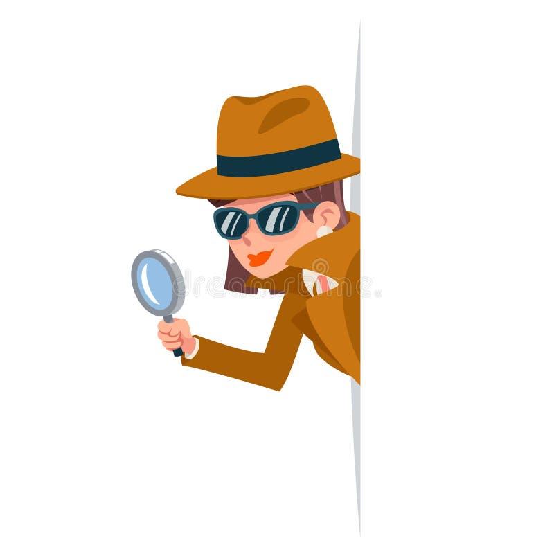 Lente d'ingrandimento sveglia dell'agente investigativo del ficcanaso della donna tecnica dando una occhiata fuori alla progettaz illustrazione vettoriale