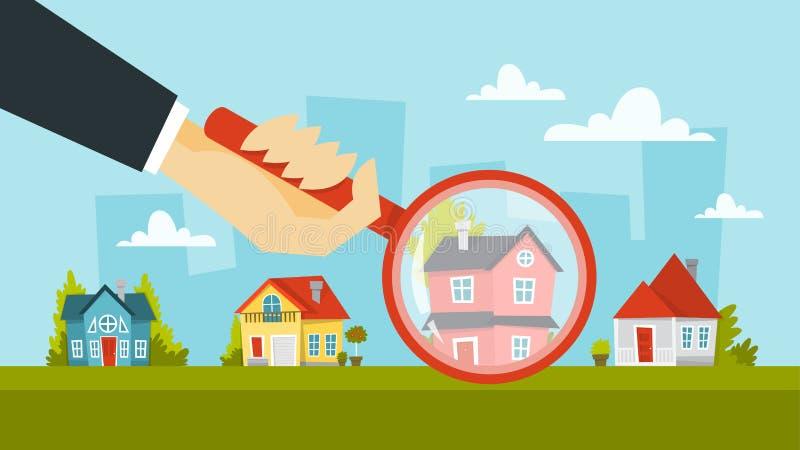 Lente d'ingrandimento umana della tenuta della mano e scegliere casa illustrazione di stock
