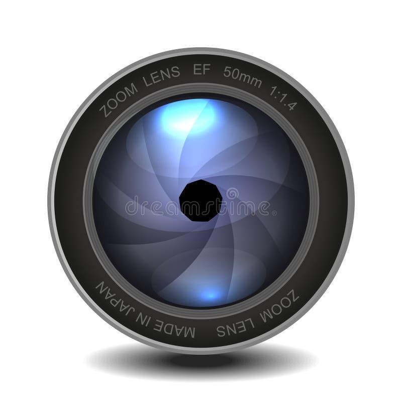 Lente da foto da câmera com obturador. ilustração do vetor