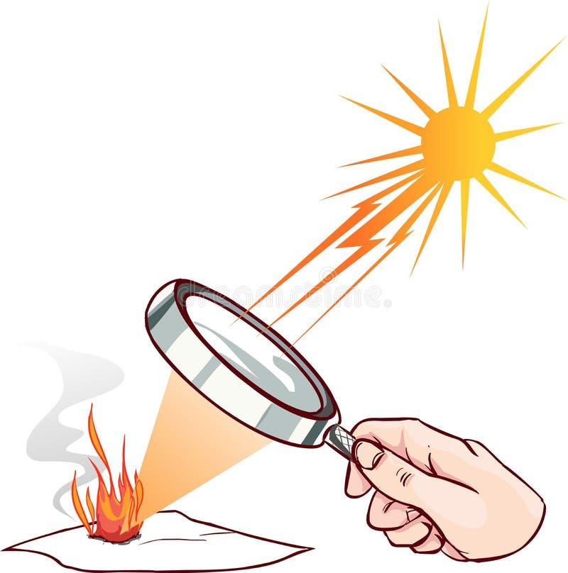 Lente de ampliação usada para concentrar alguns raios solares em um pedaço de papel ilustração royalty free
