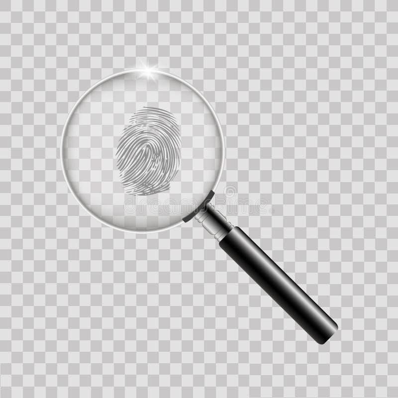 Lente de aumento com a impressão digital no fundo transparente Vetor ilustração royalty free