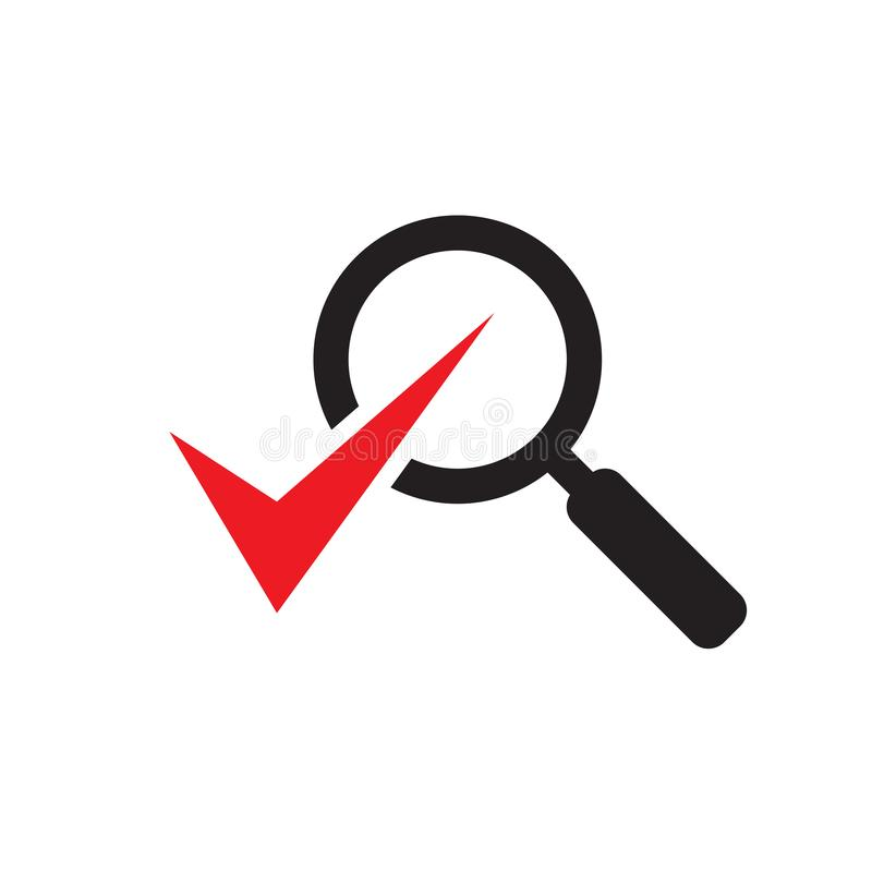 Lente de aumento com marca de verificação - ícone preto na ilustração branca do vetor do fundo para o Web site, aplicação móvel,  ilustração royalty free