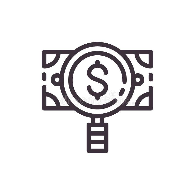 Lente de aumento do dólar Pedaços do ¡ de Ð para cédulas falsas Ícone do preto do forro do vetor ilustração stock