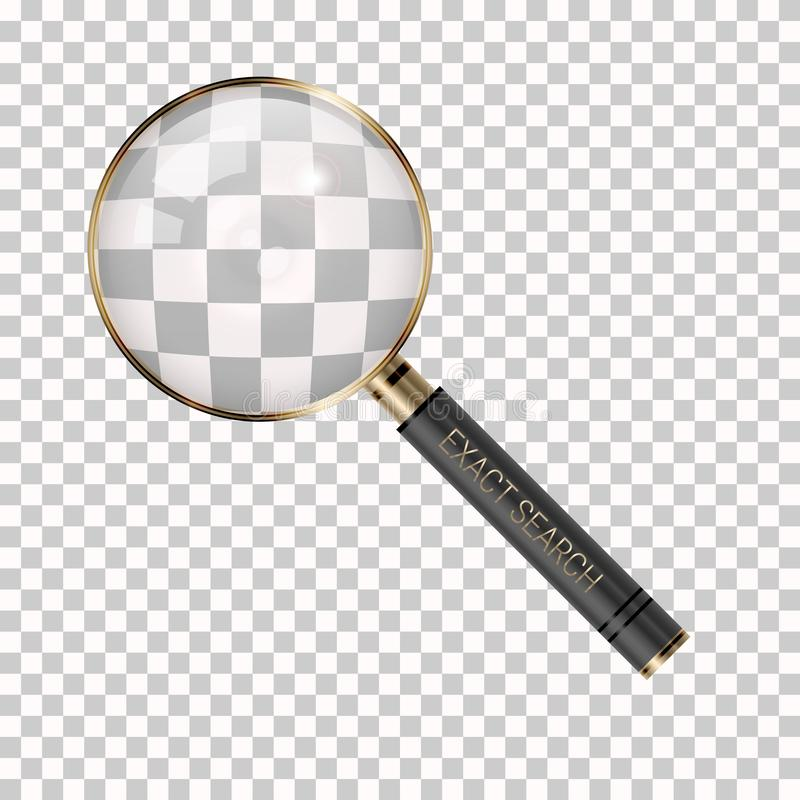 Lente de aumento do vetor em um fundo transparente Ícone da lupa Ícone da busca, da pesquisa, do detetive ou da investigação ilustração stock