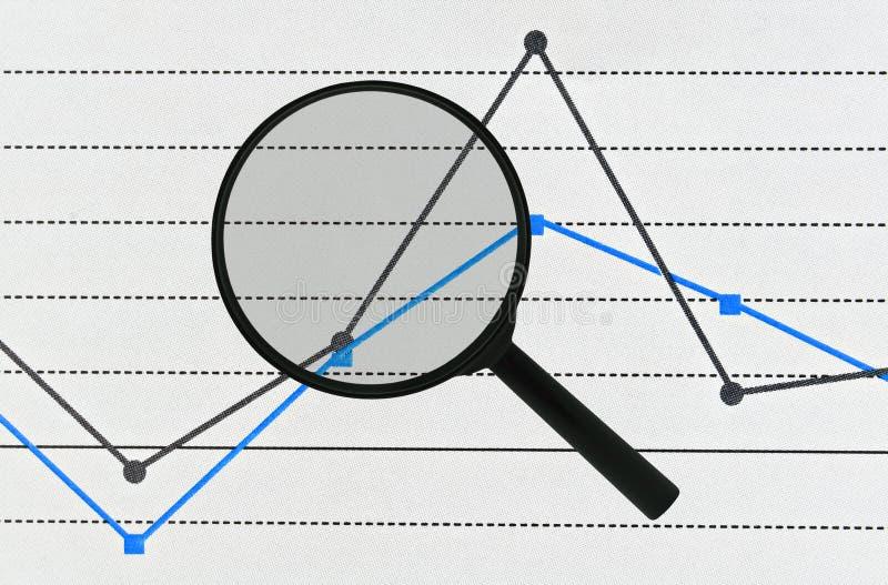 Lente de aumento e gráfico imagem de stock royalty free