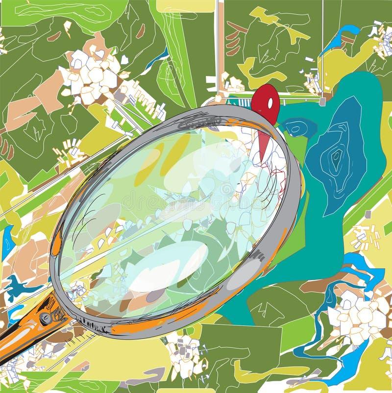 Lente de aumento e mapa ilustração do vetor