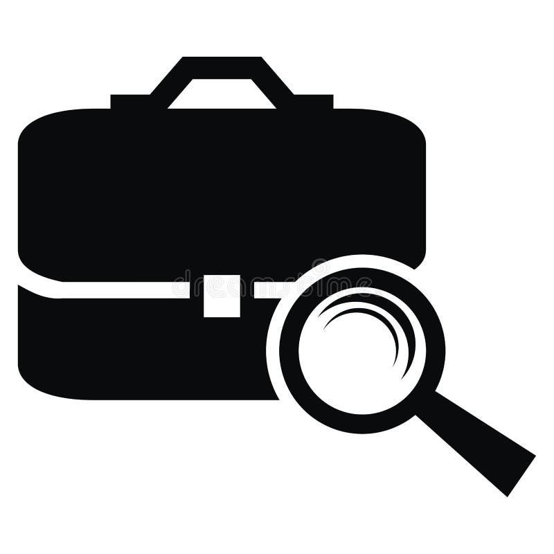 Lente de aumento e pasta, ícone do preto do vetor da Web ilustração royalty free