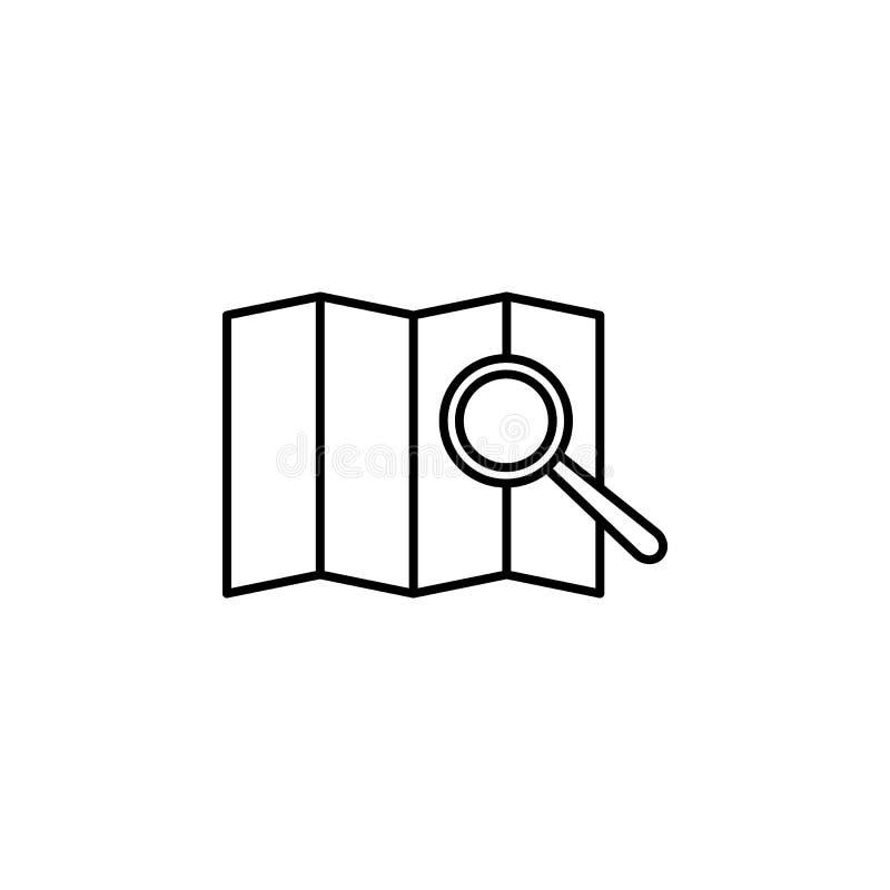 lente de aumento no ícone do mapa Elemento do safari para a ilustração móvel dos apps do conceito e da Web Linha fina ícone para  ilustração do vetor