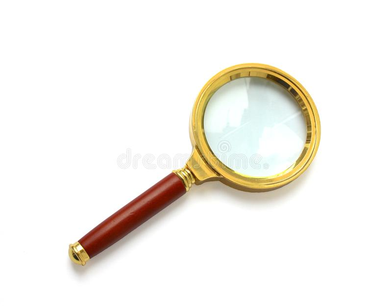 lente de aumento Ouro-orlarada com punho de madeira imagens de stock royalty free