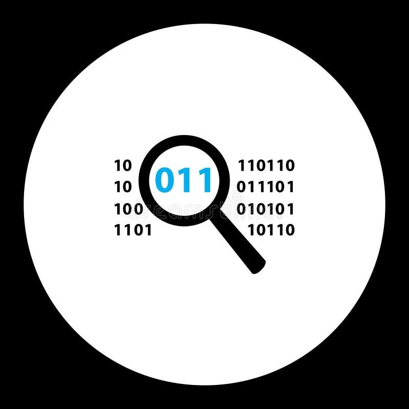 A lente de aumento preta simples analisa o código binário eps10 da fonte ilustração stock