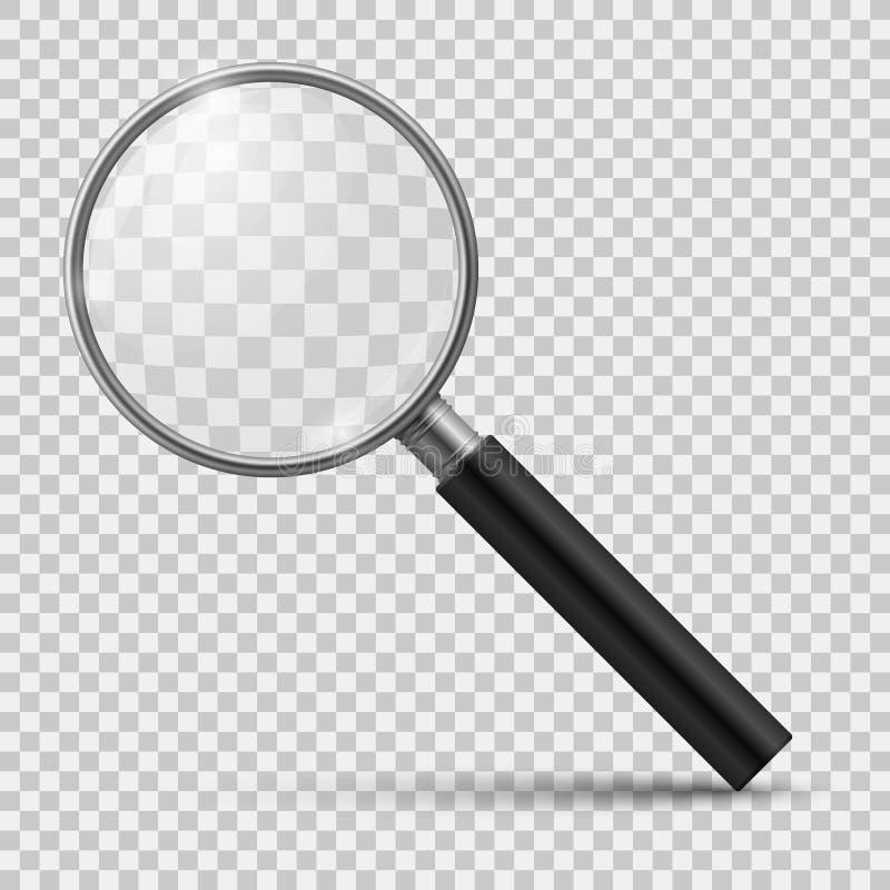 Lente de aumento realística O vidro amplia, zumbe microscópio ótico da lente do exame minucioso da lupa das ferramentas Vetor 3d  ilustração do vetor
