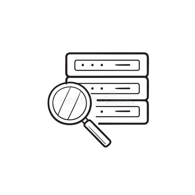 Lente de aumento sobre o ícone tirado mão da garatuja do esboço do servidor de banco de dados ilustração royalty free