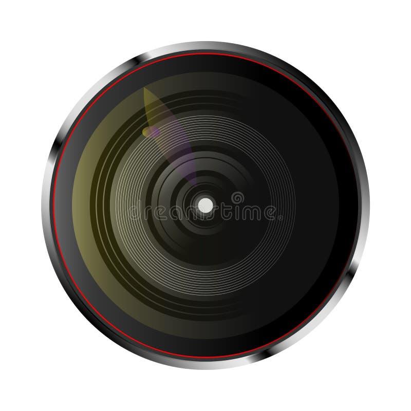 Lente de cámara óptica realista ilustración del vector