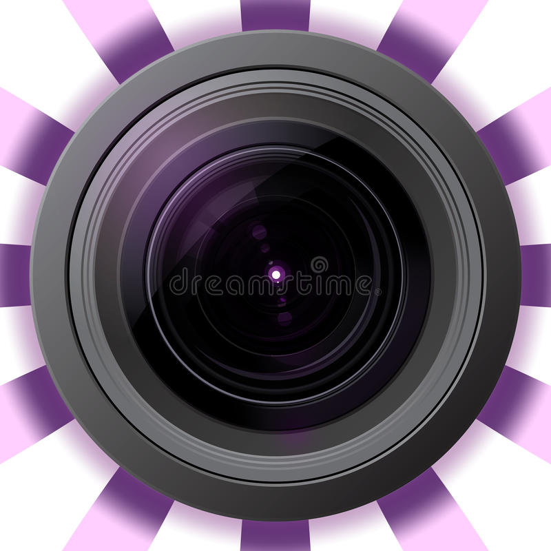 Lente de cámara con la llamarada violeta stock de ilustración