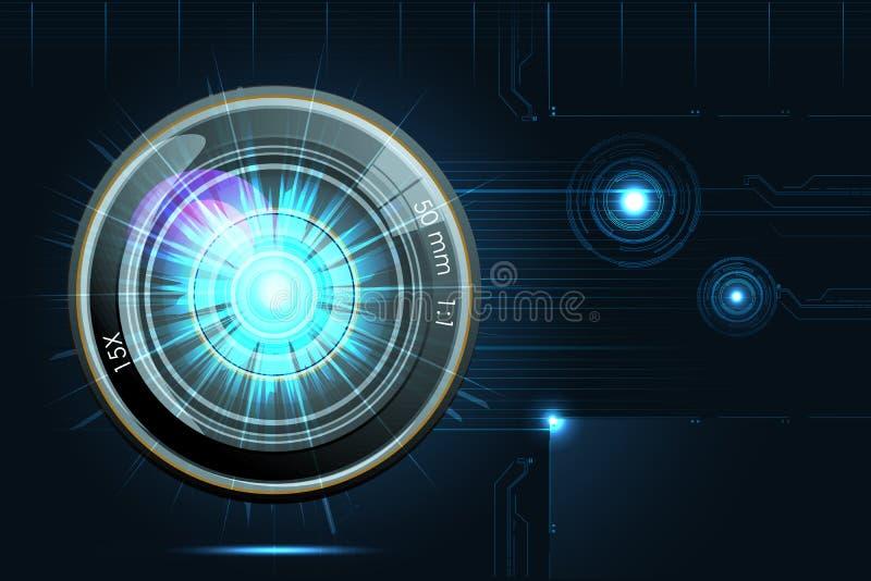 Lente de cámara en fondo futurista ilustración del vector