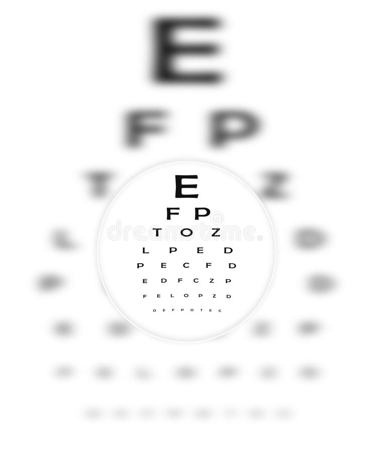 Lente de contacto y carta de ojo correctivas libre illustration
