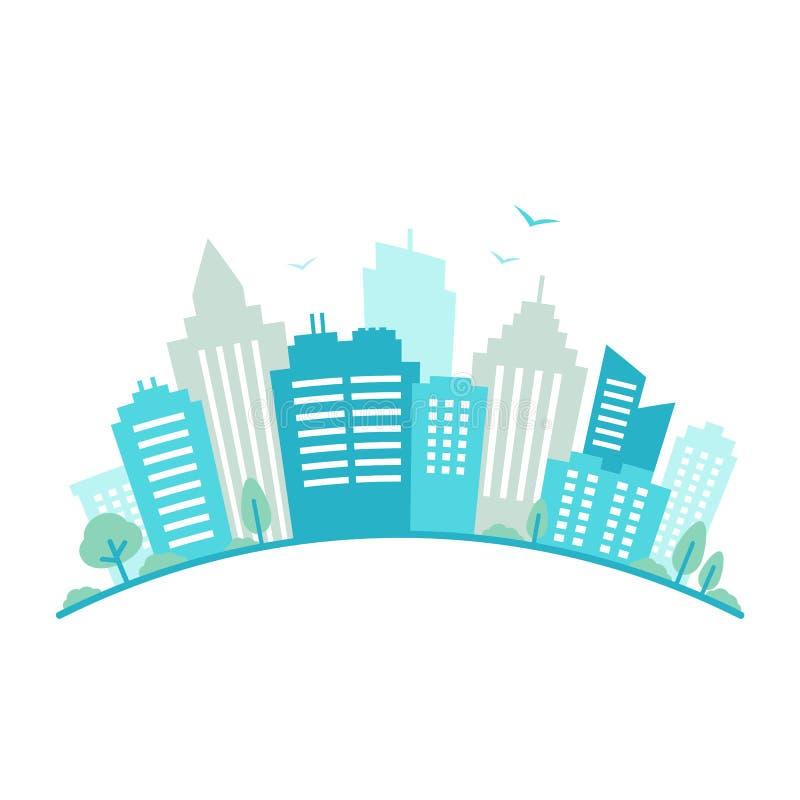 A lente de fisheye da cidade denominou o panorama Paisagem urbana Opinião azul da silhueta da cidade Arquitetura da cidade no est ilustração do vetor