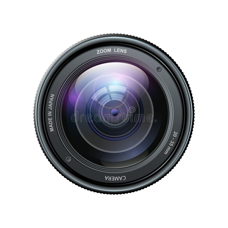 Lente de la foto de la cámara, lente de cámara aislada en el fondo blanco - vector stock de ilustración