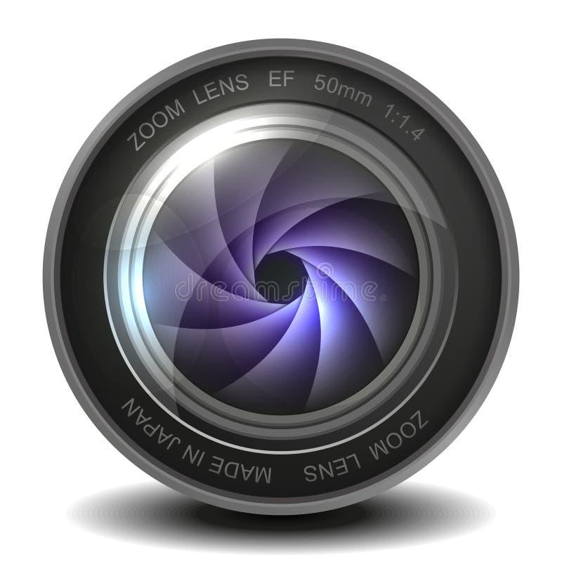 Lente della foto della macchina fotografica con l'otturatore. illustrazione di stock
