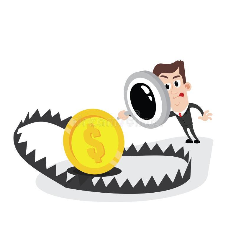 Lente della tenuta dell'uomo d'affari ed esaminare la trappola dell'orso con soldi illustrazione vettoriale