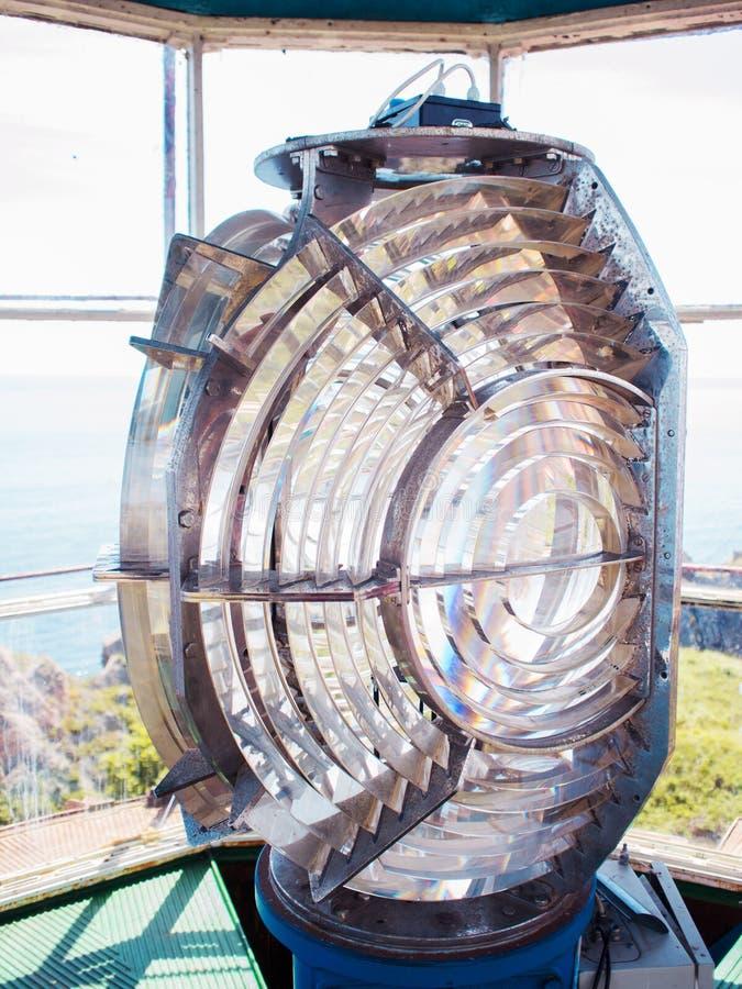 Lente di Fresnel Lente del faro del mare immagini stock