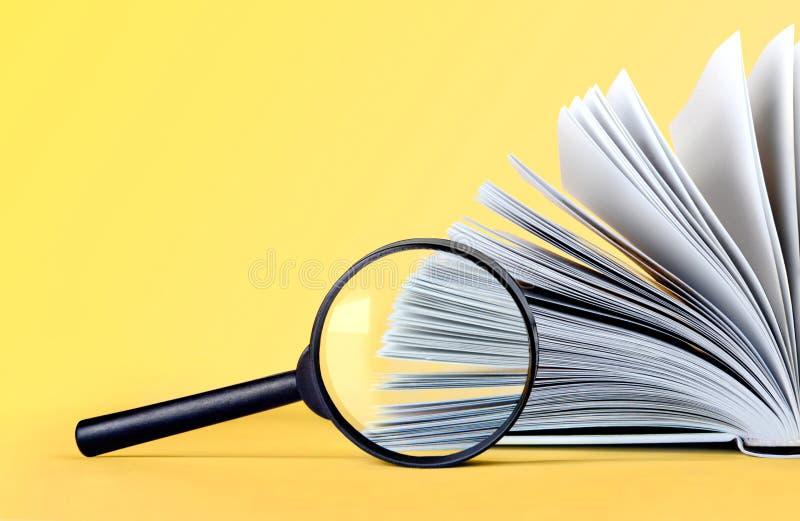 Lente di ingrandimento e libro d'ingrandimento fotografia stock libera da diritti