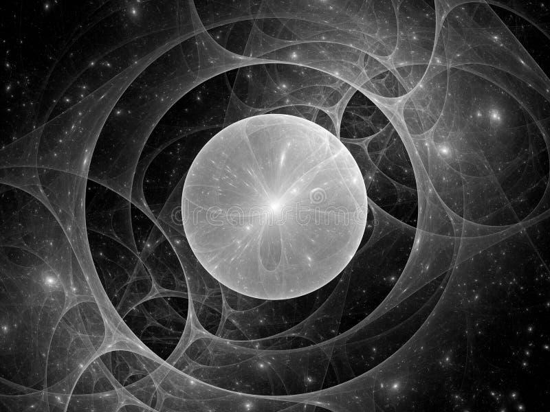 Lente gravitacional en el espacio blanco y negro stock de ilustración