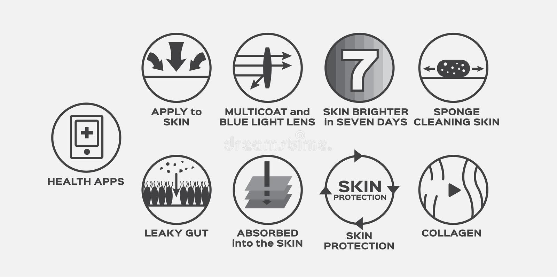 A lente leve azul ajustada do multi revestimento dos apps do vetor/saúde do ícone da pele sete dias limpa o colagênio da limpeza  ilustração stock