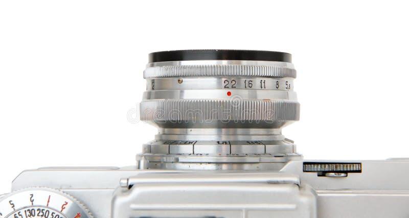 Lente objetiva da câmera da película do vintage isolada foto de stock